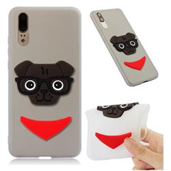 Glasses Dog Soft 3D Silicone Case for Huawei P20 - Translucent White