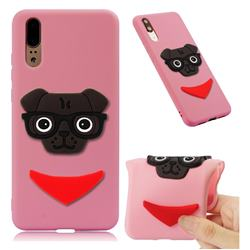 Glasses Dog Soft 3D Silicone Case for Huawei P20 - Pink