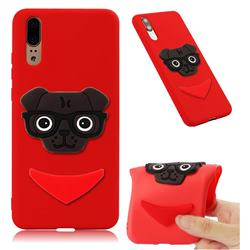 Glasses Dog Soft 3D Silicone Case for Huawei P20 - Red