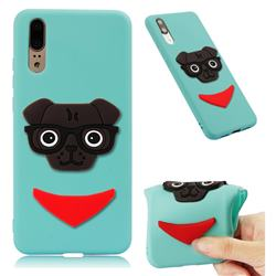 Glasses Dog Soft 3D Silicone Case for Huawei P20 - Sky Blue