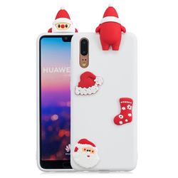 White Santa Claus Christmas Xmax Soft 3D Silicone Case for Huawei P20