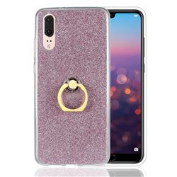 Luxury Soft TPU Glitter Back Ring Cover with 360 Rotate Finger Holder Buckle for Huawei P20 - Pink