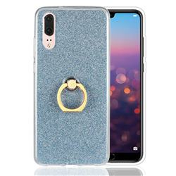 Luxury Soft TPU Glitter Back Ring Cover with 360 Rotate Finger Holder Buckle for Huawei P20 - Blue
