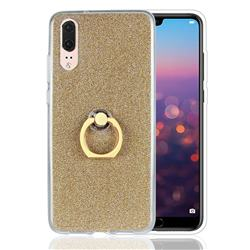 Luxury Soft TPU Glitter Back Ring Cover with 360 Rotate Finger Holder Buckle for Huawei P20 - Golden