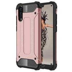 King Kong Armor Premium Shockproof Dual Layer Rugged Hard Cover for Huawei P20 - Rose Gold