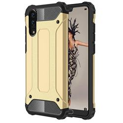 King Kong Armor Premium Shockproof Dual Layer Rugged Hard Cover for Huawei P20 - Champagne Gold