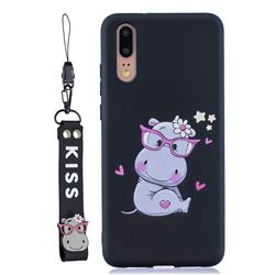 Black Flower Hippo Soft Kiss Candy Hand Strap Silicone Case for Huawei P20