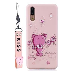 Pink Flower Bear Soft Kiss Candy Hand Strap Silicone Case for Huawei P20