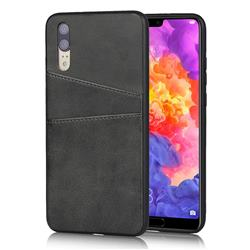 Simple Calf Card Slots Mobile Phone Back Cover for Huawei P20 - Black