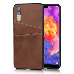 Simple Calf Card Slots Mobile Phone Back Cover for Huawei P20 - Coffee