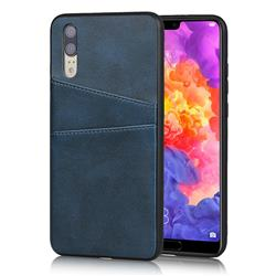 Simple Calf Card Slots Mobile Phone Back Cover for Huawei P20 - Blue