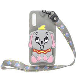 Gray Elephant Neck Lanyard Zipper Wallet Silicone Case for Huawei P20