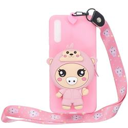 Pink Pig Neck Lanyard Zipper Wallet Silicone Case for Huawei P20