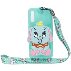 Blue Elephant Neck Lanyard Zipper Wallet Silicone Case for Huawei P20