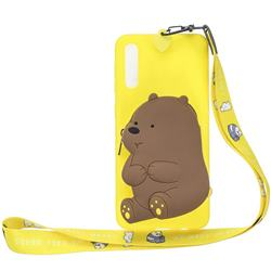 Yellow Bear Neck Lanyard Zipper Wallet Silicone Case for Huawei P20