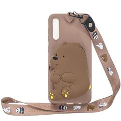 Brown Bear Neck Lanyard Zipper Wallet Silicone Case for Huawei P20