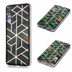 Green Rhombus Galvanized Rose Gold Marble Phone Back Cover for Huawei P20