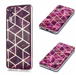 Purple Rhombus Galvanized Rose Gold Marble Phone Back Cover for Huawei P20