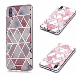 Pink Rhombus Galvanized Rose Gold Marble Phone Back Cover for Huawei P20