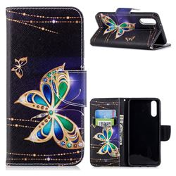 Golden Shining Butterfly Leather Wallet Case for Huawei P20