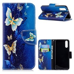 Golden Butterflies Leather Wallet Case for Huawei P20