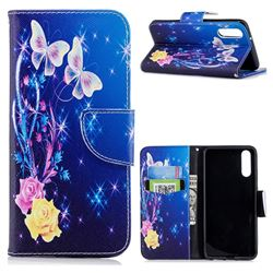 Yellow Flower Butterfly Leather Wallet Case for Huawei P20