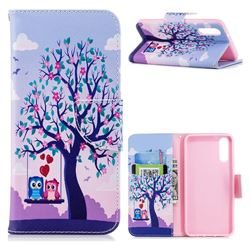 Tree and Owls Leather Wallet Case for Huawei P20