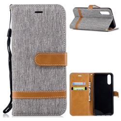 Jeans Cowboy Denim Leather Wallet Case for Huawei P20 - Gray