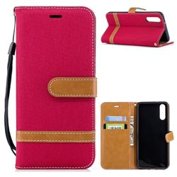 Jeans Cowboy Denim Leather Wallet Case for Huawei P20 - Red