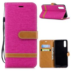 Jeans Cowboy Denim Leather Wallet Case for Huawei P20 - Rose