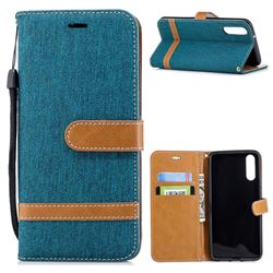 Jeans Cowboy Denim Leather Wallet Case for Huawei P20 - Green