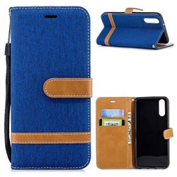 Jeans Cowboy Denim Leather Wallet Case for Huawei P20 - Sapphire