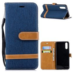 Jeans Cowboy Denim Leather Wallet Case for Huawei P20 - Dark Blue
