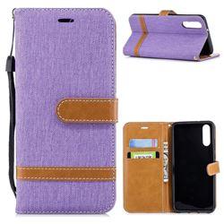 Jeans Cowboy Denim Leather Wallet Case for Huawei P20 - Purple