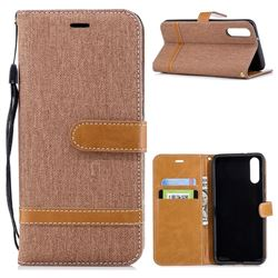 Jeans Cowboy Denim Leather Wallet Case for Huawei P20 - Brown