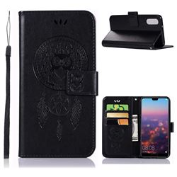 Intricate Embossing Owl Campanula Leather Wallet Case for Huawei P20 - Black