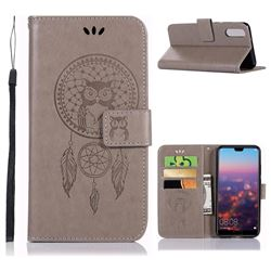Intricate Embossing Owl Campanula Leather Wallet Case for Huawei P20 - Grey