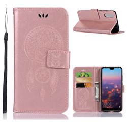 Intricate Embossing Owl Campanula Leather Wallet Case for Huawei P20 - Rose Gold