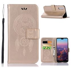 Intricate Embossing Owl Campanula Leather Wallet Case for Huawei P20 - Champagne