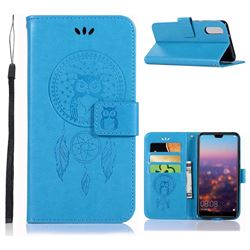 Intricate Embossing Owl Campanula Leather Wallet Case for Huawei P20 - Blue