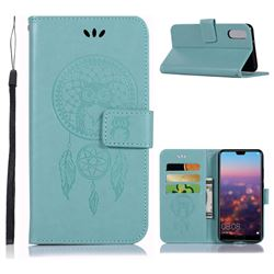 Intricate Embossing Owl Campanula Leather Wallet Case for Huawei P20 - Green