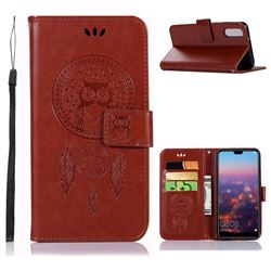 Intricate Embossing Owl Campanula Leather Wallet Case for Huawei P20 - Brown