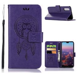 Intricate Embossing Owl Campanula Leather Wallet Case for Huawei P20 - Purple