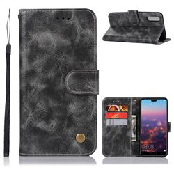 Luxury Retro Leather Wallet Case for Huawei P20 - Gray