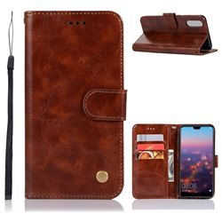 Luxury Retro Leather Wallet Case for Huawei P20 - Brown