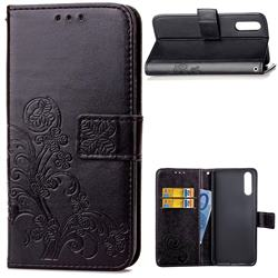 Embossing Imprint Four-Leaf Clover Leather Wallet Case for Huawei P20 - Black