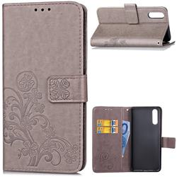 Embossing Imprint Four-Leaf Clover Leather Wallet Case for Huawei P20 - Grey