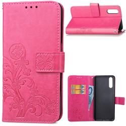Embossing Imprint Four-Leaf Clover Leather Wallet Case for Huawei P20 - Rose