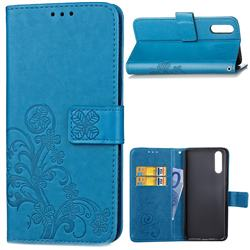 Embossing Imprint Four-Leaf Clover Leather Wallet Case for Huawei P20 - Blue