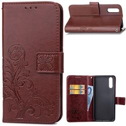 Embossing Imprint Four-Leaf Clover Leather Wallet Case for Huawei P20 - Brown